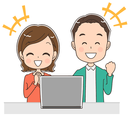 A middle-aged couple is using a personal computer, vector illustration. Illustration