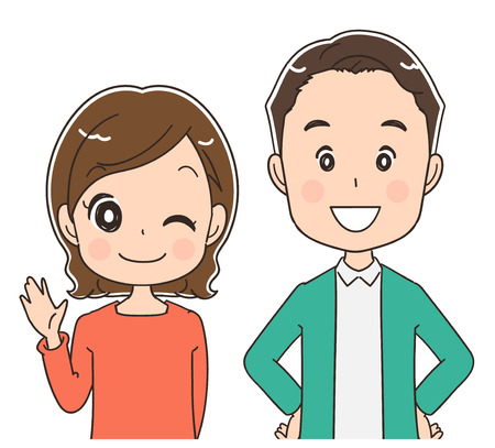 Middle-aged couples portraits, vector illustration.