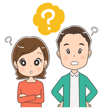 Middle-aged couple are asking questions, vector illustration.