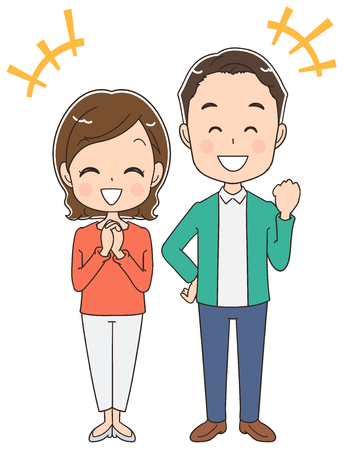 A middle-aged couple seems to be happy, vector illustration.
