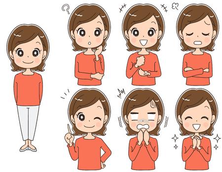 Een vrouw van middelbare leeftijd heeft verschillende gezichtsuitdrukkingen, vectorillustratie.