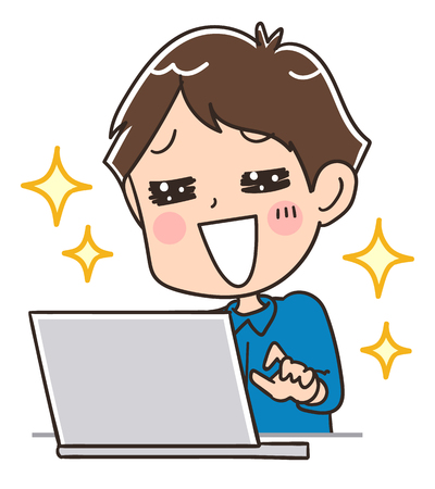 Men are enjoying using a computer Illustration