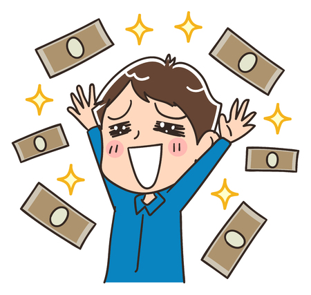 Men are happy to have lots of money, vector illustration. Çizim