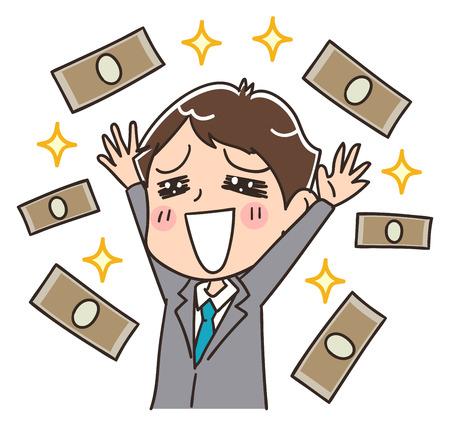 Een zakenman is blij met veel geld