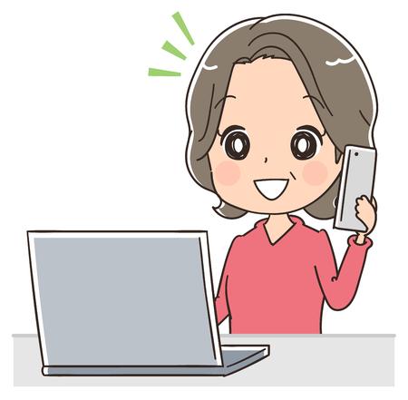 高齢者の女性は、ノート パソコンを使用しながらスマート フォンで話しています。  イラスト・ベクター素材