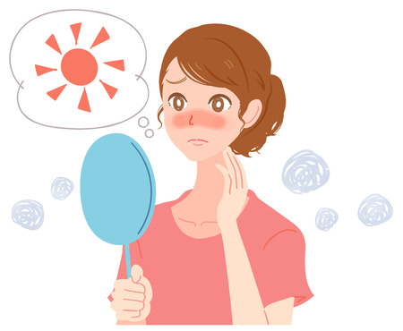 A young woman is suffering about facial sunburn  イラスト・ベクター素材