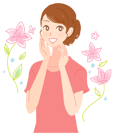 A beautiful woman makes her skin beautiful. Together with flowers Illustration
