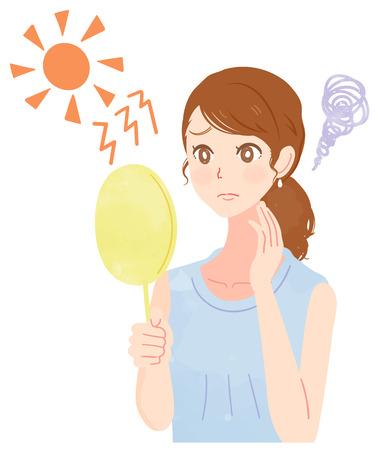 Schöne Frauen sind besorgt über ultraviolette Strahlen