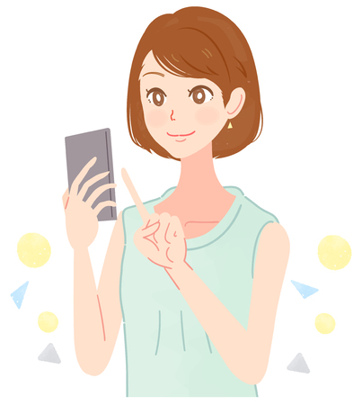A beautiful woman is using a smartphone. 矢量图像