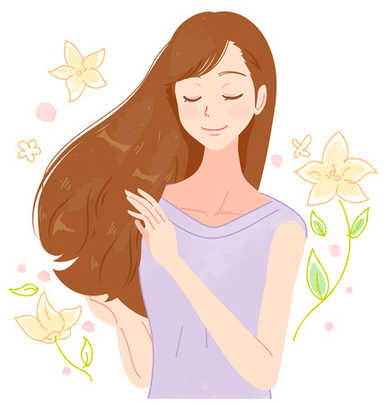 A woman with beautiful hair. Flower background