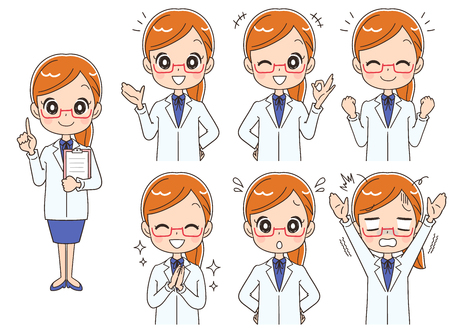 Set of various emotions of female doctor