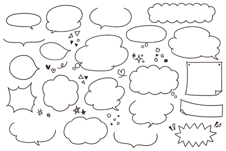 Cute and hand-painted speech bubble collection Stock Illustratie