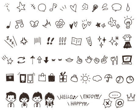 Set of hand-drawn-style icons 向量圖像