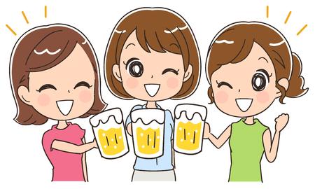 ビールで女性グループ  イラスト・ベクター素材
