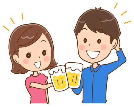 ビールとカップル