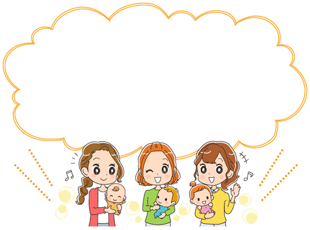 Mothers holding babies are pleased. With balloon. Illustration