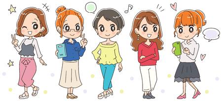 행복한 젊은 여성 그룹. 일러스트