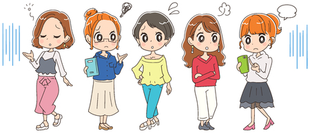 Young women group with trouble. Illustration