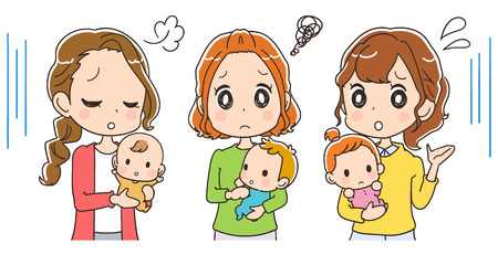 baby and mother: Moms holding babies are in trouble Illustration