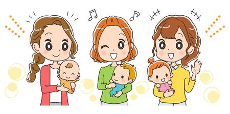 아기를 둔 엄마가 행복하다.