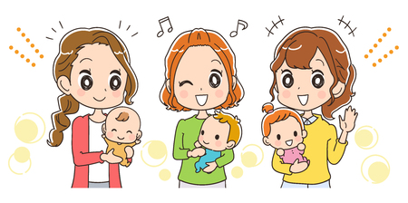 Moms with babies are happy 矢量图像
