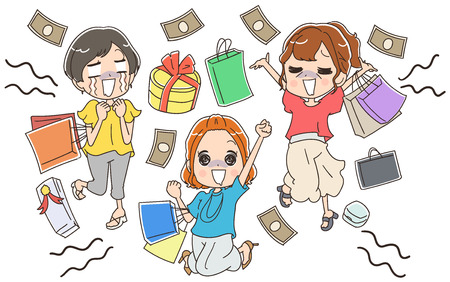 Shopping dependent women Stock Illustratie
