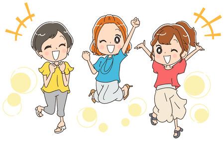 De groep springende jonge vrouwen heeft plezier