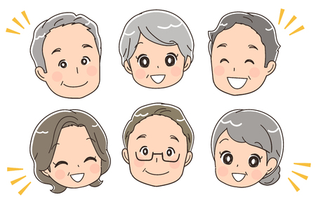Elderly face icon collection.