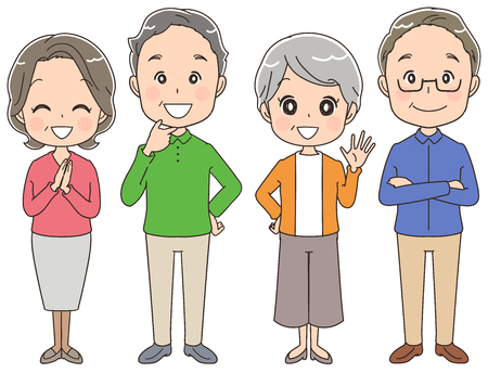 family holiday: A group of elderly people.