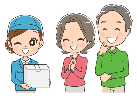 neighbour: An elderly couple receives a parcel delivery service. Illustration