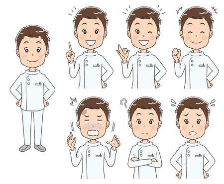 Male nurse with various expressions Stock Illustratie