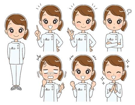 様々 な表情で女性看護師