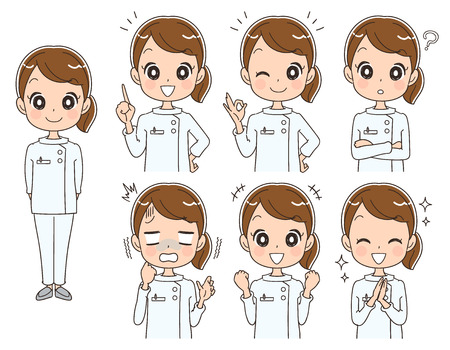 Female nurse with various expressions