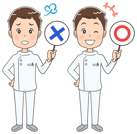 and has: A male nurse has a notice in his hand. Illustration