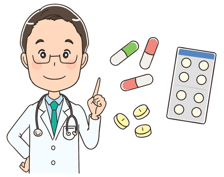 Male doctor is informing about medicine Illustration
