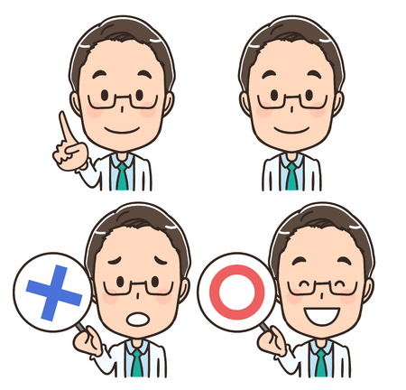 Male doctor's face icon collection