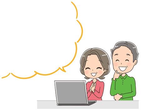 옛 부부는 개인용 컴퓨터를 사용하고 있습니다. 말풍선으로 일러스트