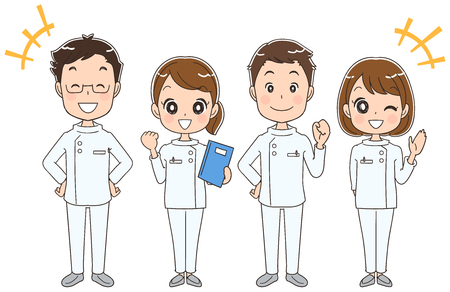 Reliable male and female medical team Ilustracja