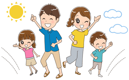 family holiday: Family is having fun