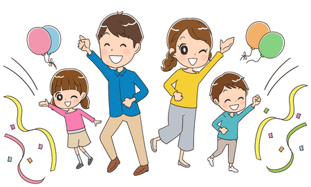 young asian girl: Family is having fun