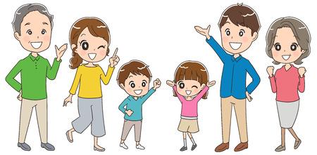 3 세대 가족 재미 일러스트