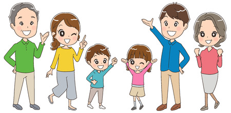 Three generation family having fun