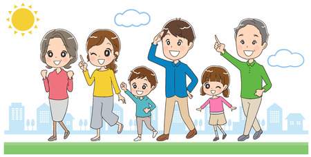 Family is walking in the city 일러스트