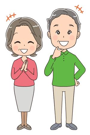 Happy elderly couple Illustration
