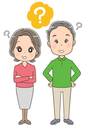 Elderly couple who are asking questions