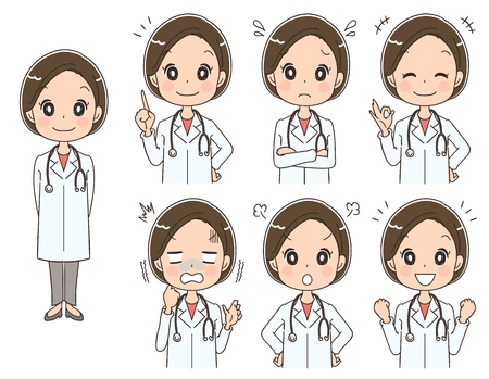 Female doctor with various expressions