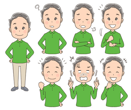 Elderly man with various facial expressions Stock Illustratie
