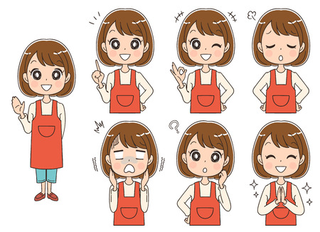 Set of woman with different expressions 矢量图像