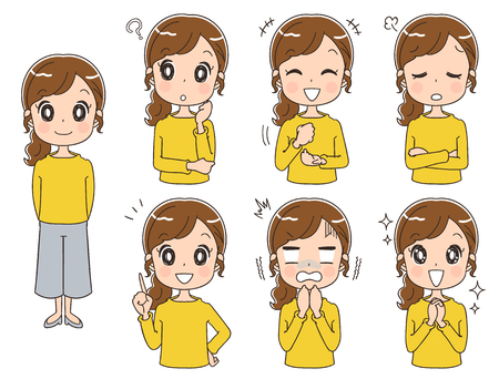 Set of woman with different expressions Stock Illustratie