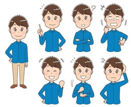 Set of man with different expressions Çizim